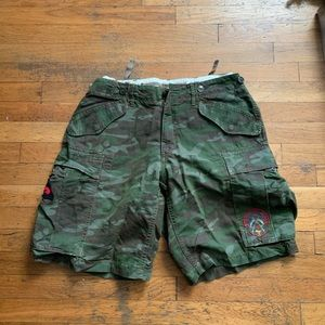 Ralph Lauren camo cargo shorts with patches